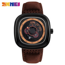 Skmei Men Casual Quartz Watch Square Dial Leather Strap Wristwatch Water... - $19.99