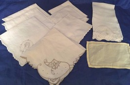 Lot 9 Vintage Napkins Embroidered Lace Fagoting White Cream Yellow Ivory... - $16.47