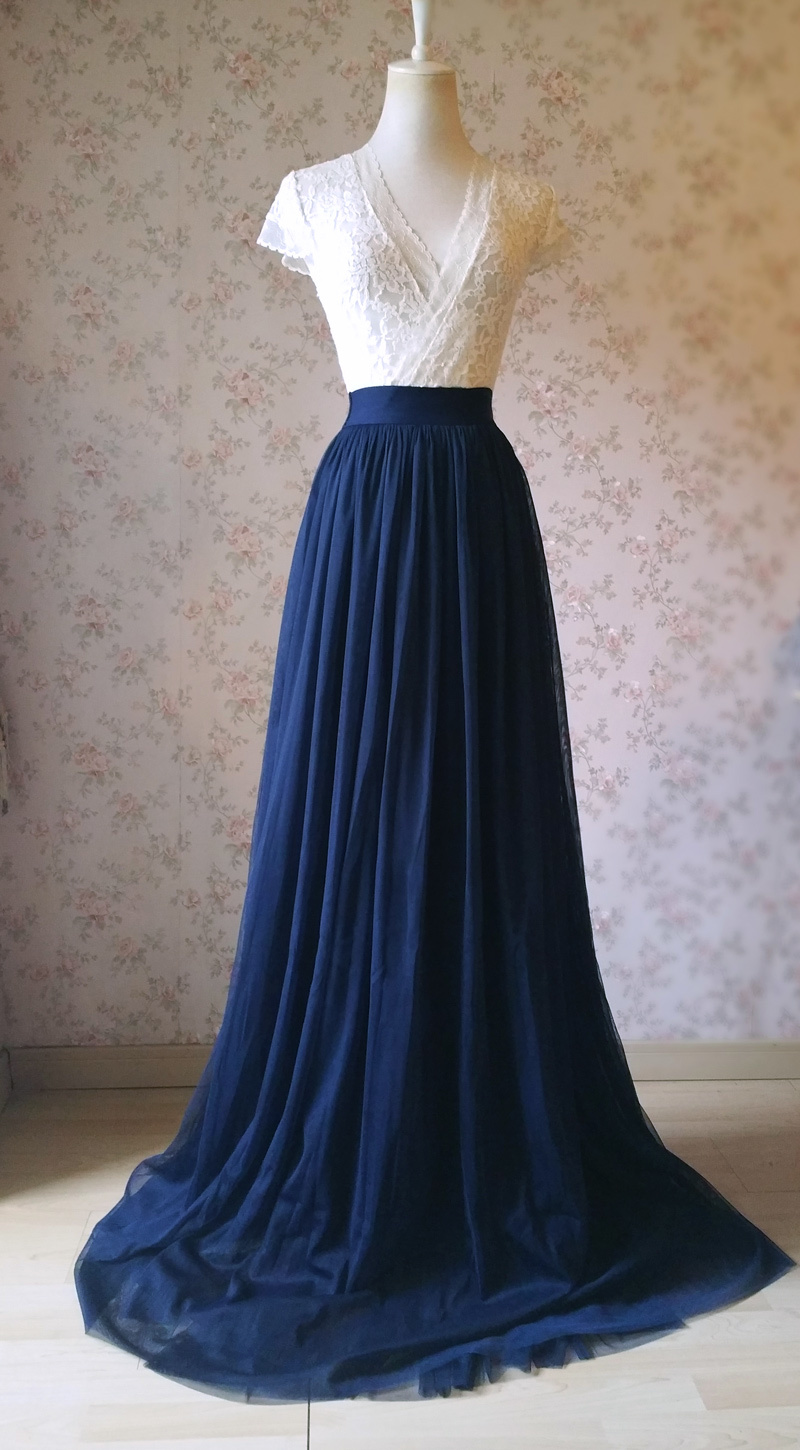 Navy Extra Long Tulle Skirt Wedding Full Maxi Wedding Bridesmaid Skirt Plus Size