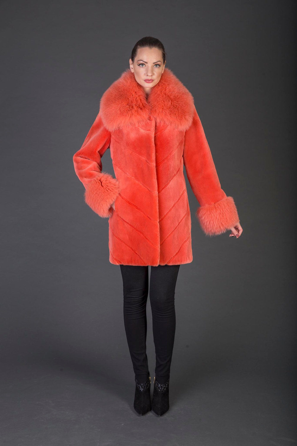 Primary image for Luxury gift/Orange Beaver Fur Coat/Fox collar and cuffs/Fur jacket /Wedding,or a