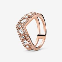 925 Sterling Silver & Rose Gold Plated Sparkling Marquise Double Wishbone Ring - $23.99