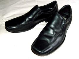 Kenneth Cole Reaction Men Sz 10 Black Leather One Line Day Slip On Loafe... - $34.57