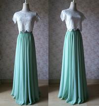 Boho Wedding Bridesmaid Dress Chiffon Maxi Skirt Short Sleeve Crop Lace Top  image 1