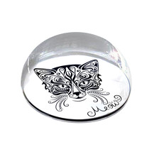 """Ornate Cat Meow Illustration 2"""" Crystal Dome Magnet or Paperweight - $15.99"""