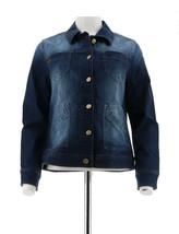 Isaac Mizrahi TRUE DENIM Jean Jacket Patch Pockets Dark Indigo 14 NEW A292091 - $42.55