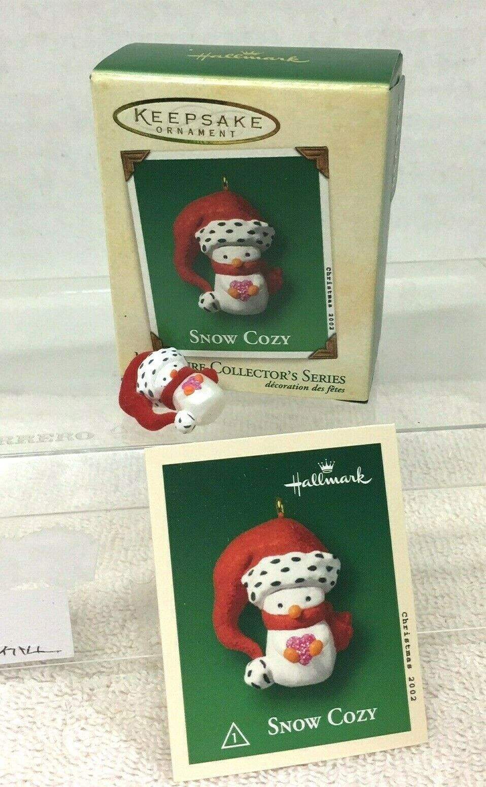 Primary image for 2002 Snow Cozy #1 Mini Hallmark Christmas Tree Ornament MIB Price Tag