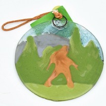 Handmade Fused Art Glass Sasquatch Big Foot Walking Ornament Sun Catcher Ecuador image 2