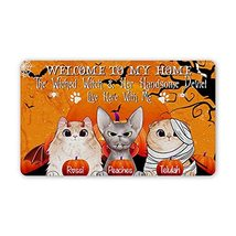 Personalized Halloween Doormat The Wicked Witch & Her Handsome Devil Liv... - $34.60