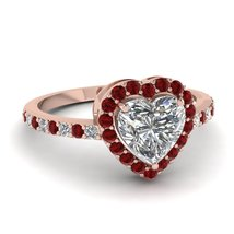 Heart Cut Red, White Diamond Womens Engagement Ring Solid 925 Silver Free Ship - $149.99