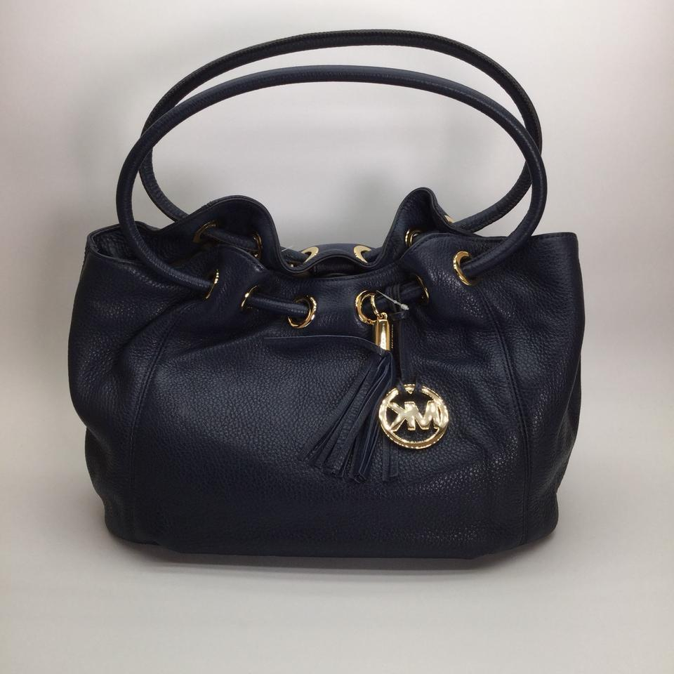 8810d01a2ed0 Michael Kors Leather Medium East West Ring Navy Leather Tote NWT