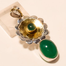 Natural Chrysoprase Gemstone Two Tone 925 Sterling Silver Pendant Fine jewelry - $18.25
