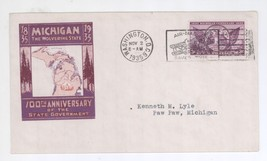 November 1, 1935 Michigan Centennial First Day Cover! Woverine State FDC - $4.94