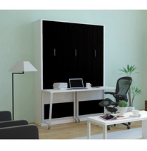 Alexa Queen Wall Bed with Desk | White & Matte Black - £1,721.85 GBP