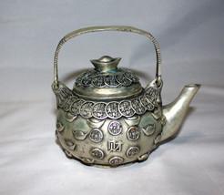 "Chinese Antique Silver Tea Pot 4"" Tall x 5.5"" width - $143.55"