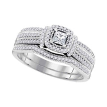 10k White Gold Princess Diamond Bridal Wedding Engagement Ring Band Set 1/2 Cttw - £621.34 GBP