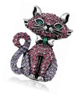 Purple Rhinestone Cat Brooch Pins for Women,Gifts Cute - $16.00