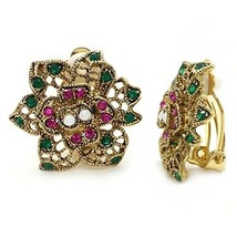 Clip On Earrings Flower Antique Pink Green Crystal Filigree Multi Color - $61.87