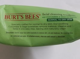 Burt's Bees Facial Cleansing Towelettes Cucumber & Sage Normal-Dry Skin 30 Ct x3 image 4