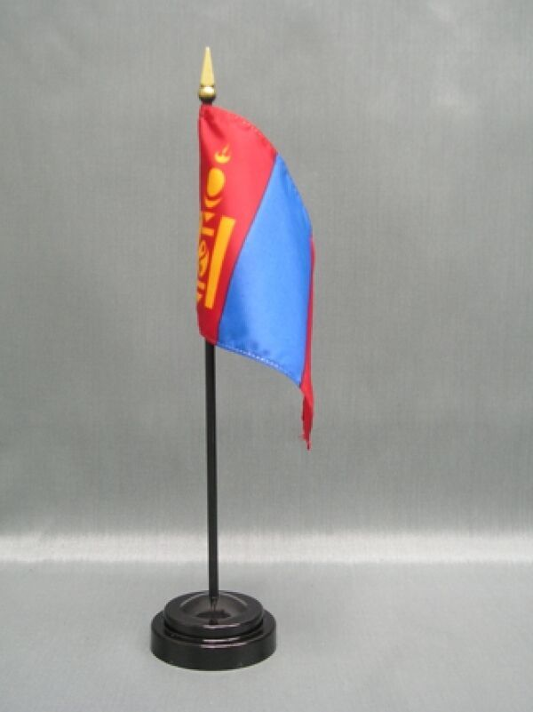 "MONGOLIA 4X6"" TABLE TOP FLAG W/ BASE NEW DESK TOP HANDHELD STICK FLAG"