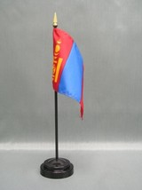 "MONGOLIA 4X6"" TABLE TOP FLAG W/ BASE NEW DESK TOP HANDHELD STICK FLAG - $4.95"