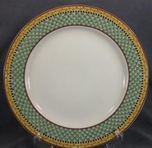 Sakura JOY TO THE WORLD Dinner Plate Debbie Mumm Green Plaid Rim Stoneware - $19.95