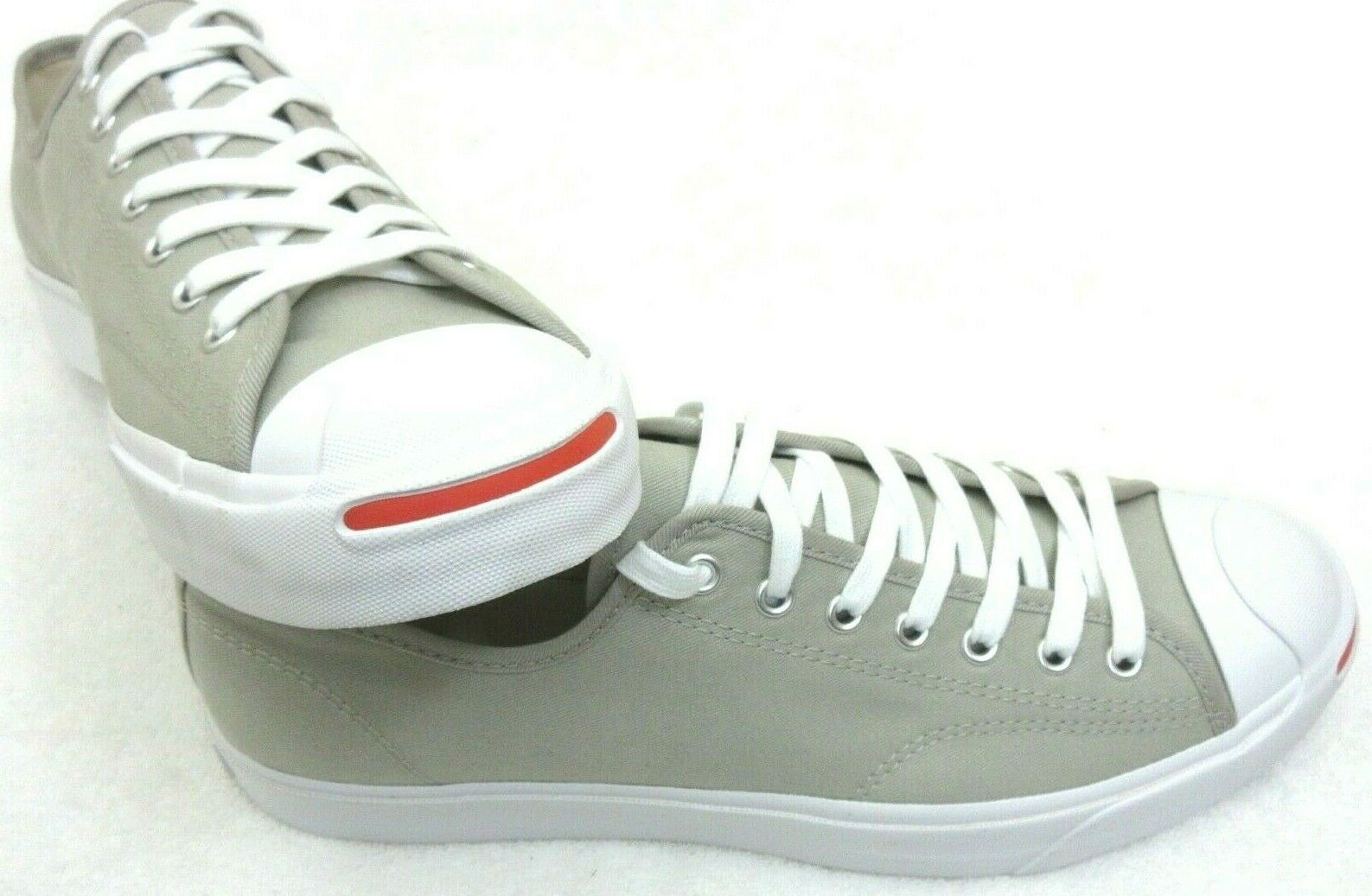 Converse Mens Jack Purcell OX Canvas Birch Bark White Habanero Red Shoes Sz 9.5 image 2