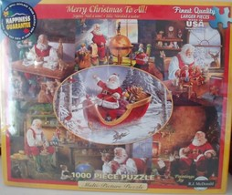 """White Mountain Puzzles """" Merry Christmas to All """" 1000 pieces Jigsaw Puzzle"""