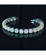 Sterling silver  fire opal gemstone tennis bracelet  7 - $34.65