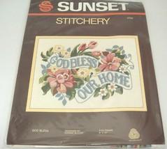 """Vintage Sunset Stitchery Kit 2704 God Bless by Connie Blyler 9"""" x 12"""" 19... - $14.10"""