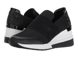 Michael Kors Women's Felix Trainer Slip On Casual Wedge Black Sneakers 9M image 2