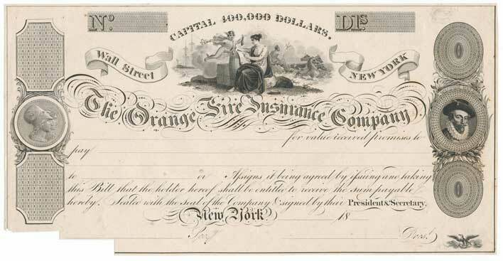 Primary image for 1825 The Orange Fire Insurance Company Note Proof on India, Wall Street New York