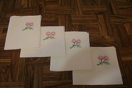Set of 4 Vintage Cream Cotton Linen Napkins Lunch Cocktail Embroidered F... - $20.59