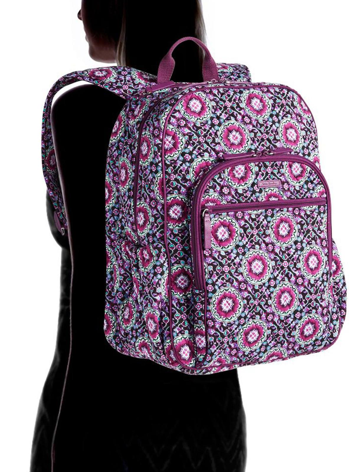 Vera Bradley Signature Cotton Campus Tech Backpack, Lilac Medallion image 2