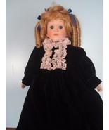 """16"""" blonde hair blue eyes blue velvet dress porcelain doll - $21.04"""