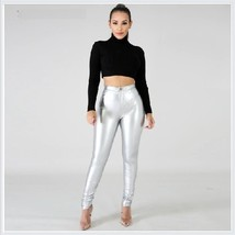 Shiny Silver Tight Fit Faux Leather High Waist Front Zip Up Legging Pencil Pants image 2