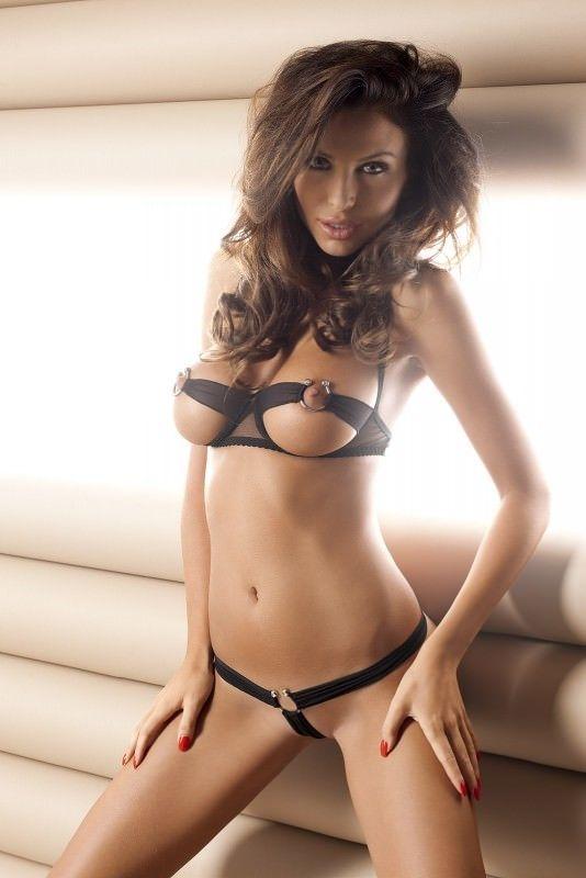 soutien-gorge push-up string noir femmes érotique sous-vêtements Lingerie Sexy
