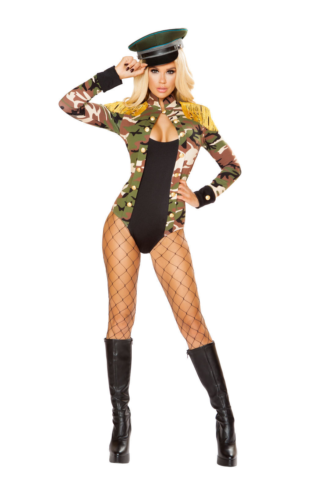 Sexy Roma 1pc Army Girl Military Camo Romper Halloween Costume W/WO HAT 4817