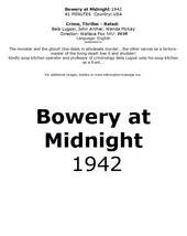Bowery at Midnight 1942 #2028 TV Movie DVD - $2.29