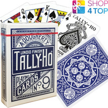 Bicycle Tally Ho Fan Arrière Playing Cartes Pont Standard Indice Linoid Bleu - $10.10