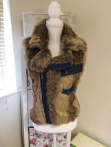 Guess Denim Faux Fur Gilet Size 10 - $103.19
