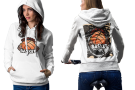 Basket ball In retro style Womens White Classic Hoodie - $30.99+