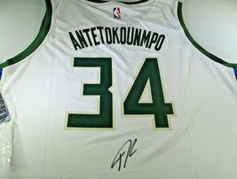 GIANNIS ANTETOKOUNMPO / AUTOGRAPHED MILWAUKEE BUCKS NBA PRO STYLE JERSEY... - $197.95