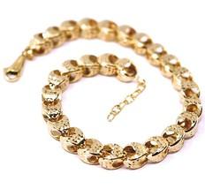 18K ROSE GOLD BRACELET, BIG ROUNDED DIAMOND CUT OVAL DROPS 6 MM, ROUNDED image 2