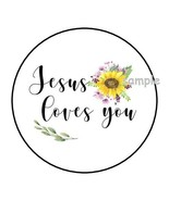 """30 JESUS LOVES YOU ENVELOPE SEALS LABELS STICKERS 1.5"""" ROUND SUNFLOWERS ... - $4.99"""