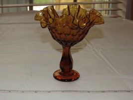 Amber Glass Ruffled Edge Thumbprint Pedestal Candy Dish Compote Vintage ~ - $39.59