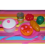 Play food for Kids Kitchen Italian Dinner Lot Spaghetti Dishes Can of Sa... - $12.86