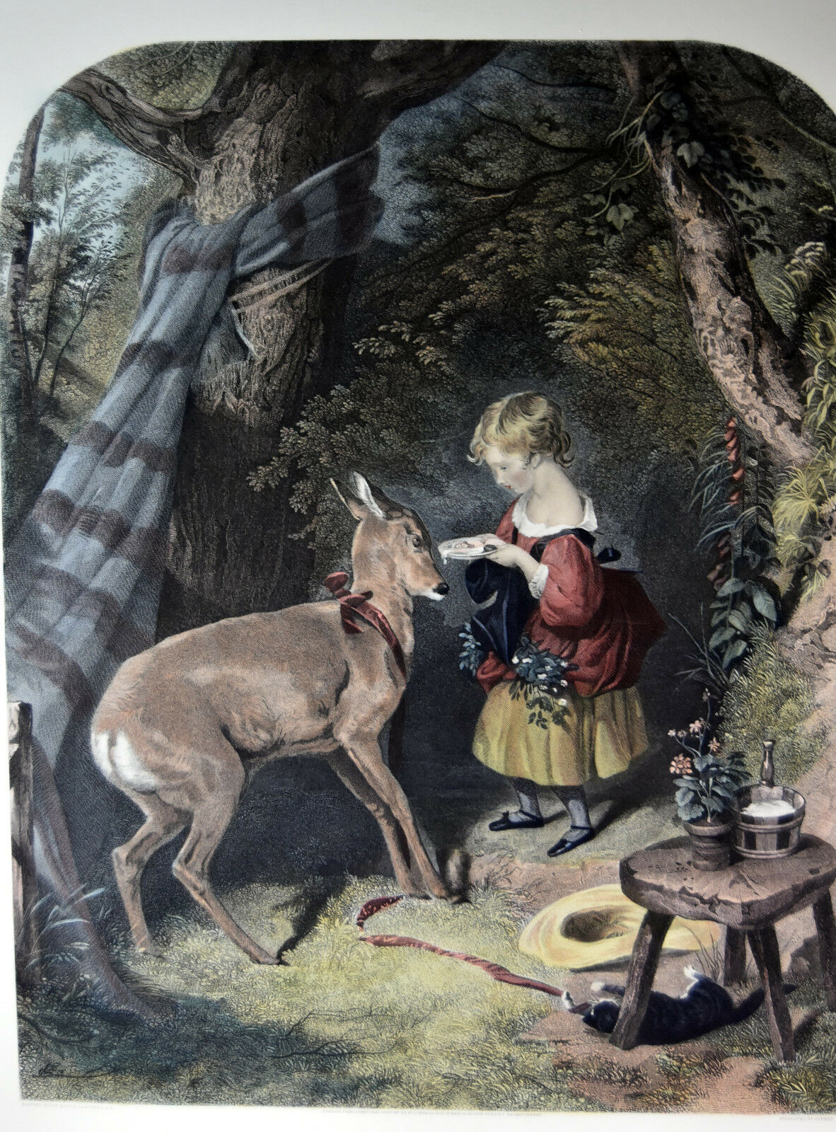 """26"""" Antique Hand Colored Engraving The Pets Lucas Alfred Girl Feeding Baby Deer image 2"""