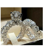 Wedding Ring Set Silver Plated Loaded with Bling CZ size 6 or 8 - $9.90