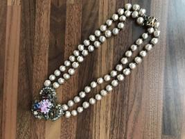 RARE DeMario 50s Victorian Style Faux Baroque Pearl Ornate Flower Pendan... - $186.00