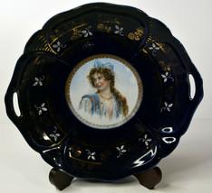 """10"""" Vintage Porcelain Bowl Plate IPF Germany Blue Cobalt Woman Medallion... - $47.49"""